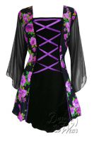 Plus Size Mandarin Corset Top in Purple Rose