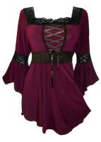 Plus Size Burgundy Gothic Renaissance Lacing up Corset Top