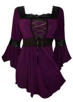 Plus Size Purple Plum Gothic Renaissance Lacing up Corset Top