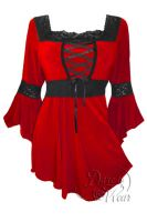 Plus Size Red and Black Renaissance Lacing up Corset Top