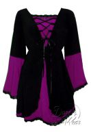 Plus Size Black and Berry Medieval Princess Bell Sleeve Corset Top
