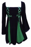 Plus Size Gemini Princess Black and Emerald Green Gothic Corset Top