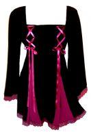 Plus Size Gemini Princess Black and Fuchsia Gothic Corset Top