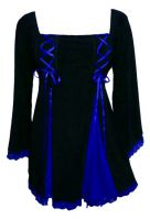 Plus Size Gemini Princess Black and Royal Blue Gothic Corset Top