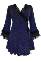 Plus Size Paris By Night Black & Blue Gothic Victoria Corset Top