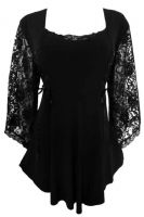 Plus Size Gothic Lace Anastasia Top in Black
