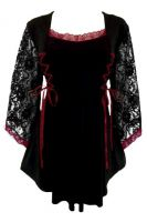 Plus Size Gothic Lace Anastasia Top in Black and Burgundy