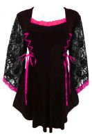 Plus Size Gothic Lace Anastasia Top in Black and Fuchsia
