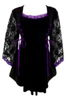 Plus Size Gothic Lace Anastasia Top in Black and Purple