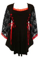 Plus Size Gothic Lace Anastasia Top in Black and Scarlet Red