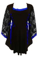 Plus Size Gothic Lace Anastasia Top in Black and Royal Blue