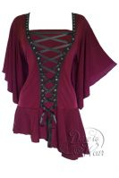 Plus Size Gothic Burgundy Alchemy Corset Stud Top in Garnet