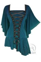 Plus Size Gothic Blue Alchemy Corset Stud Top in Blue Jade