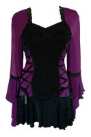 Plus Size Purple and Black Bolero Lacing Corset Top