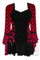 Plus Size Black Gothic Red Queen Bolero Lacing Corset Top