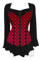 Plus Size Gothic Black & Red Corsetta Top in Red Queen