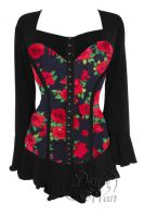 Plus Size Gothic Black & Red Corsetta Top in Red Rose