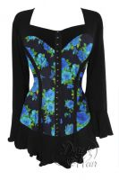 Plus Size Gothic Black & Blue Corsetta Top in Teal Rose