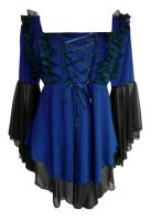 Plus Size Midnight Blue and Black Gothic Fairy Tale Corset Top