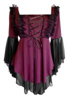 Plus Size Ruby Red and Black Gothic Fairy Tale Corset Top