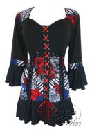 Plus Size Gothic Cabaret Corset Top in American Girl