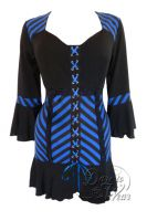 Plus Size Gothic Cabaret Corset Top in Blue Vertigo