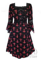 Plus Size Black and Peony Red Cross Belladonna Gothic Renaissance Corset Dress