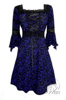 Plus Size Paris By Night Black and Blue Gothic Renaissance Corset Dress