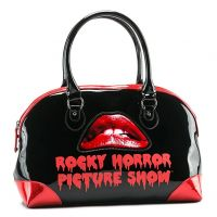 Rock Rebel Black and Red Glitter PVC Rocky Horror Picture Show Lips Purse