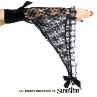 Sinister Gothic Plus Size Black Lace & Velvet Bat Wing Gloves