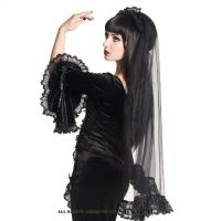 Sinister Gothic Long Black Net Lace Roses Wedding Veil