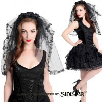Sinister Gothic Black Tulle Ruffled Lace Wedding Veil w Roses