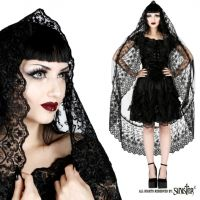 Sinister Gothic Long Black Tulle Wedding Veil w Broad Lace Trim