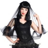 Sinister Gothic Black Lace Wedding Veil w Soft Tulle Double Venetian Lace & Satin Roses