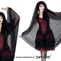 Sinister Gothic Long Black Sicilian Lace Wedding Veil w Scalloped Venetian Lace & Velvet Trim