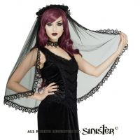 Sinister Gothic Long Black Tulle Italian Tatted Lace Mourning Wedding Veil