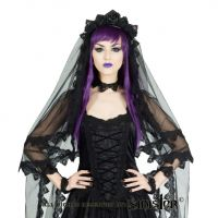 Sinister Gothic Black Layered Venetian Lace Rose Crown Mourning Wedding Veil