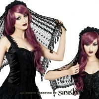 Sinister Gothic Black Crochet w Venetian Lace Fringe Rose Crown Wedding Veil