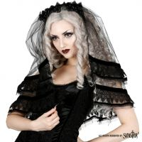 Sinister Gothic Black Tulle Scalloped Lace & Velvet Applique w Bead Flowers Wedding Veil