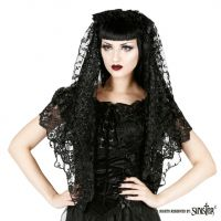Sinister Gothic Black Embroidered Lace Bows & Satin Roses Wedding Veil w Roses