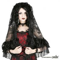 Sinister Gothic Black French Lace Ruffle Soft Mesh & Velvet Bows Wedding Veil