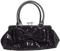 Rock Rebel Black Leopard Kiss Lock Hand Bag