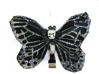Hairy Scary Black & Silver Glitter Medium Kahlovera Skull Butterfly Feather Hair Clip