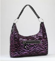 Rock Rebel Purple and Black Zebra Hobo Purse