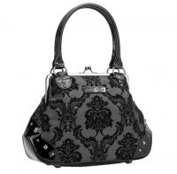 Rock Rebel Mistress Midnight Victorian Damask Studded Purse Handbag