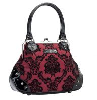 Rock Rebel Mistress Burgundy Victorian Damask Studded Purse Handbag