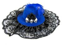 Hairy Scary Blue & Black Itsy Bitsy Hat Skull Hair Clip