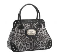 Rock Rebel Grey Black and Silver Leopard Handbag
