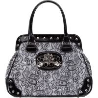 Rock Rebel Black and Silver Lacey Handbag