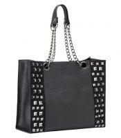 Rock Rebel Vegan Faux Leather Chains Studded Avery Purse Handbag Tote